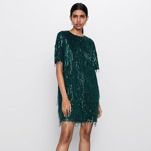 Zara Short Fringe Dress in Emerald Green